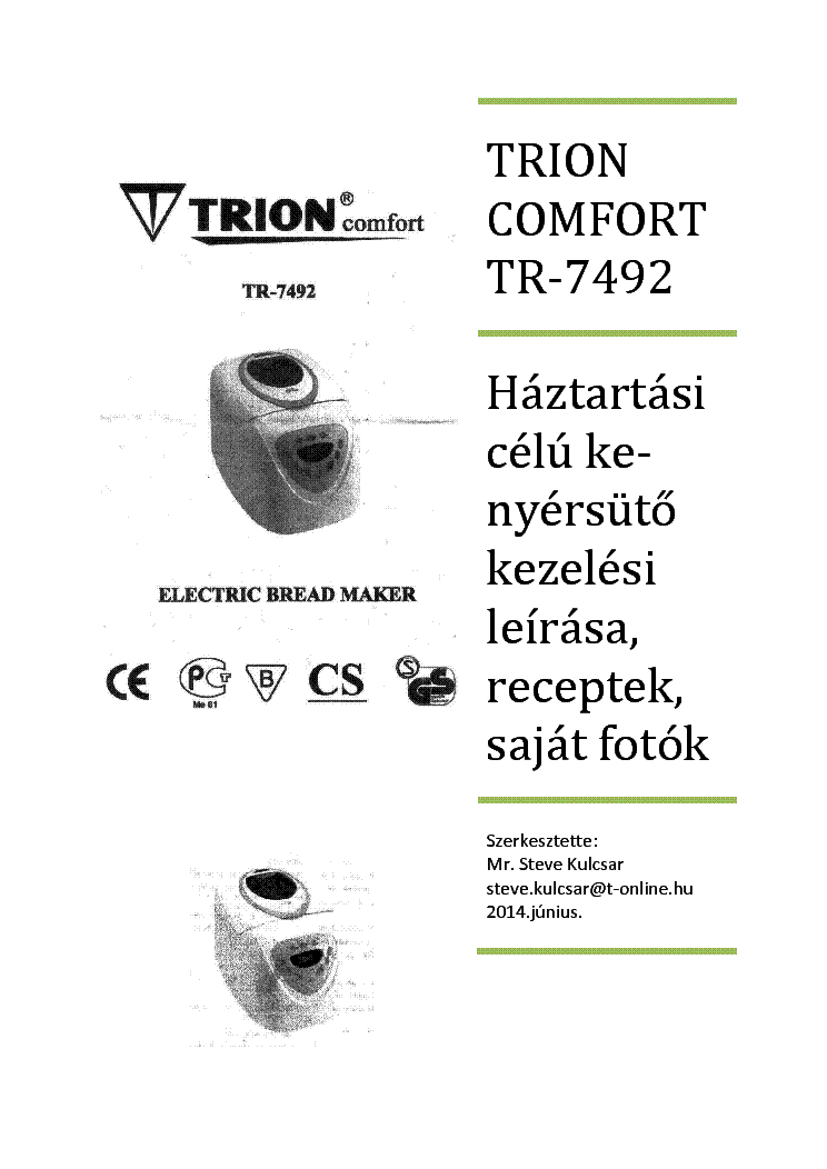 TRION TR-7492 KEZELESI LEIRAS Service Manual download