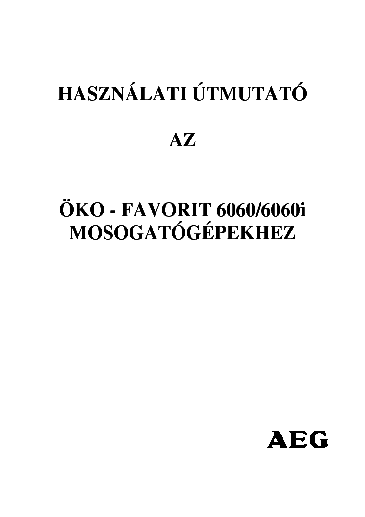 AEG OKO-FAVORIT 6060 6060I Service Manual download