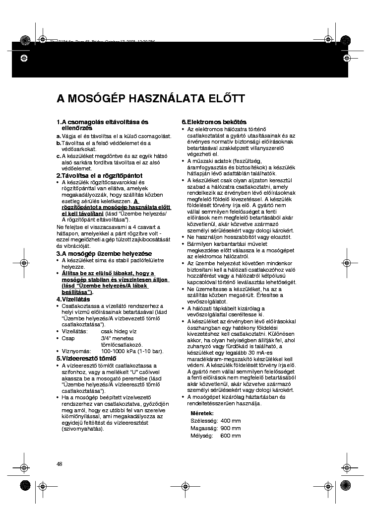 WHIRLPOOL AWT5088 HASZNALATI Service Manual download