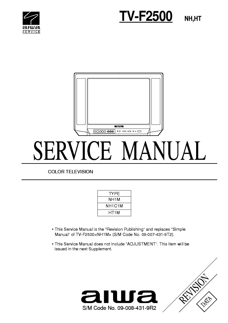 AIWA TV-SE2130 1430 CHASSIS CP385 TDA9367LW Service Manual