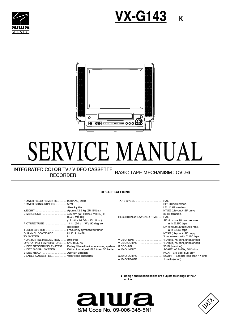 AIWA TV-C143 C148 C208 Service Manual download, schematics