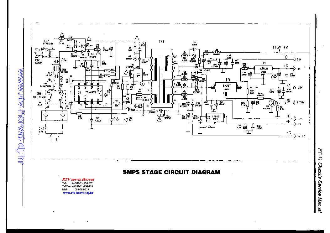 AKAI TV2111 SCH Service Manual download, schematics