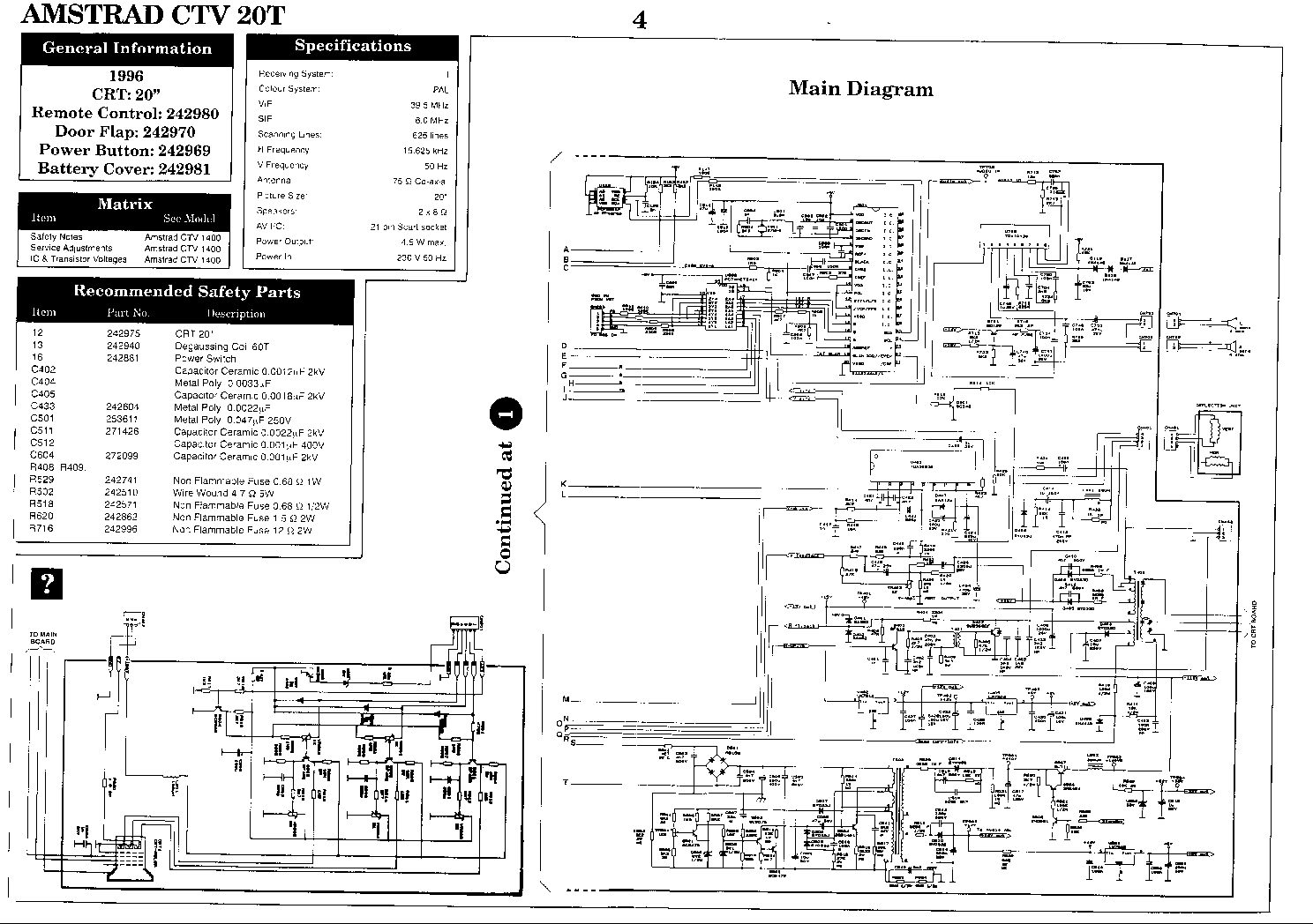 AMSTRAD TV CTV-20N Service Manual download, schematics