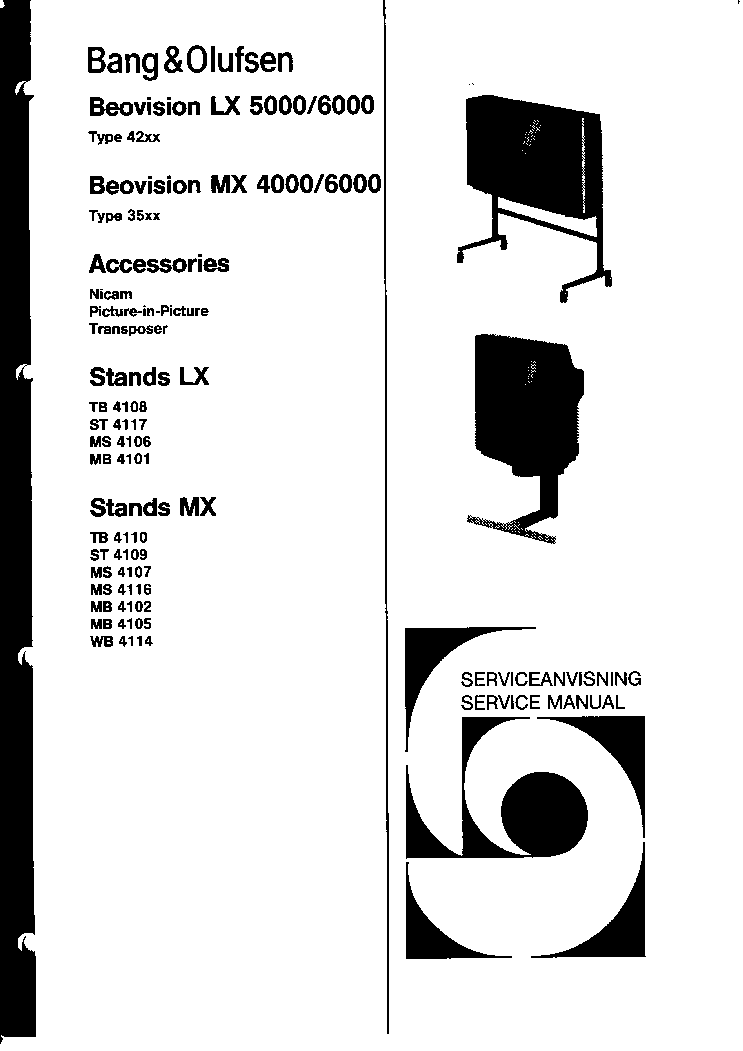 BANG-OLUFSEN LX5000 6000 MX4000 6000 SCH Service Manual