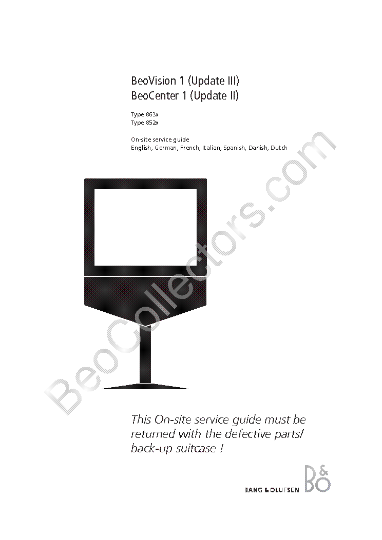 BANG OLUFSEN BEOVISION 1 UPDATE 3 Service Manual download