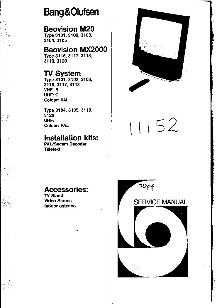 BANG-OLUFSEN BEOVISION 7802 Service Manual free download