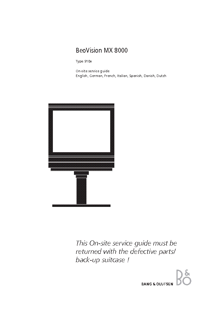 BANG OLUFSEN BEOVISION MX8000 Service Manual download