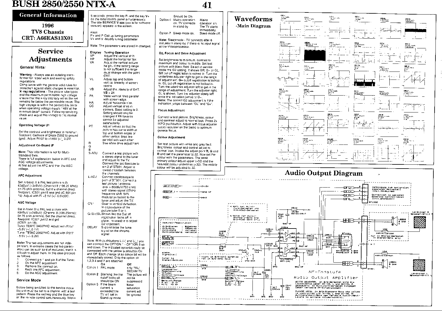 BUSH 2550 2850 NTX-A TV SCHEMATIC Service Manual free