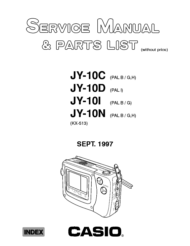 CASIO JY-10 SM Service Manual download, schematics, eeprom