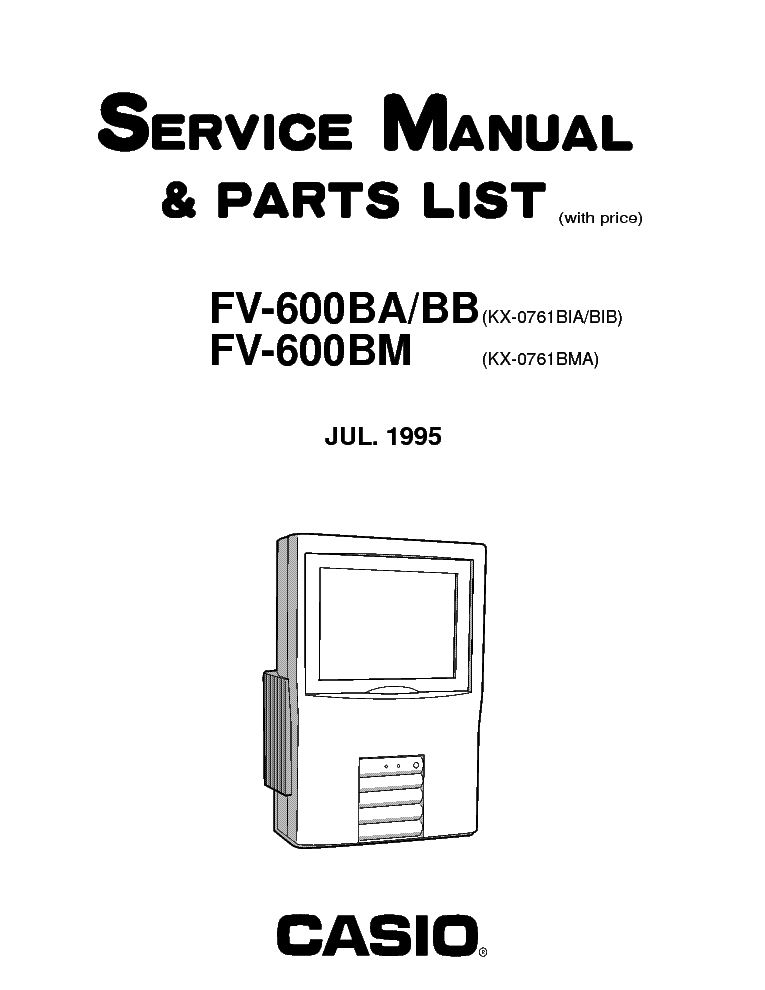 CASIO LCD TV FV600 Service Manual download, schematics