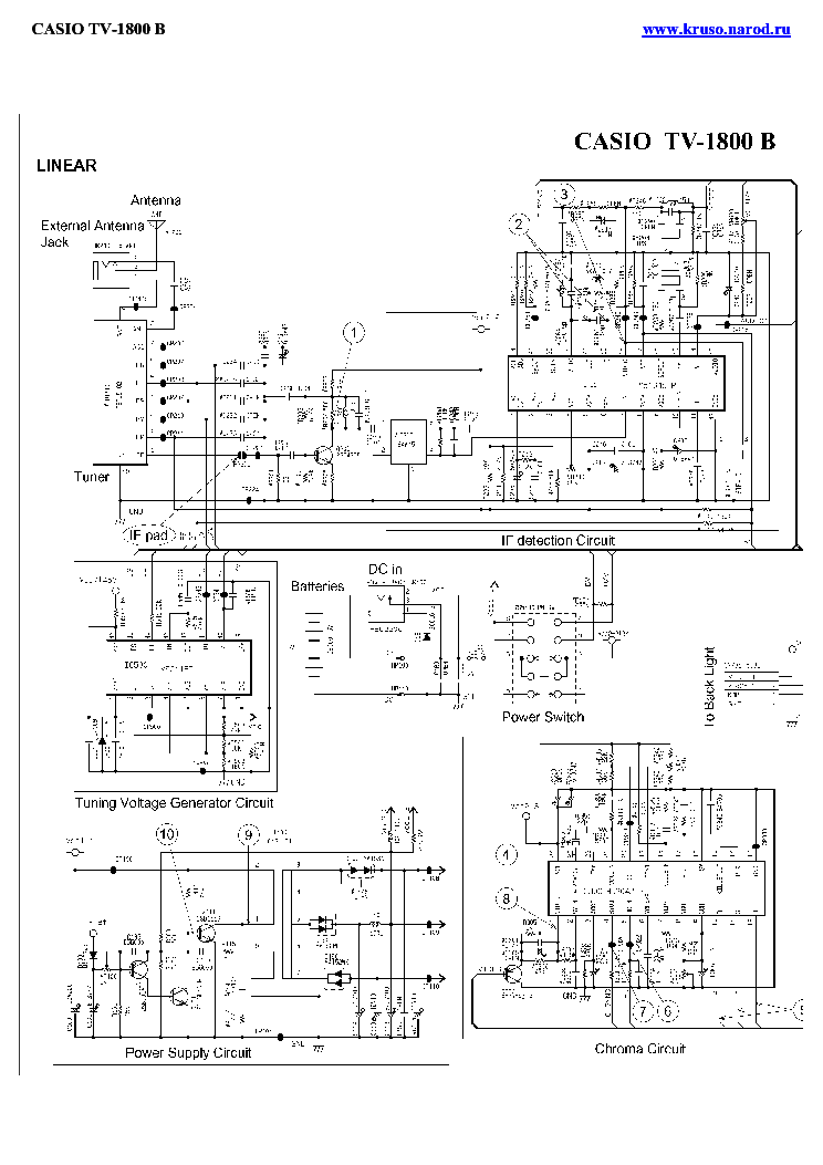 CASIO TV-1800B Service Manual download, schematics, eeprom
