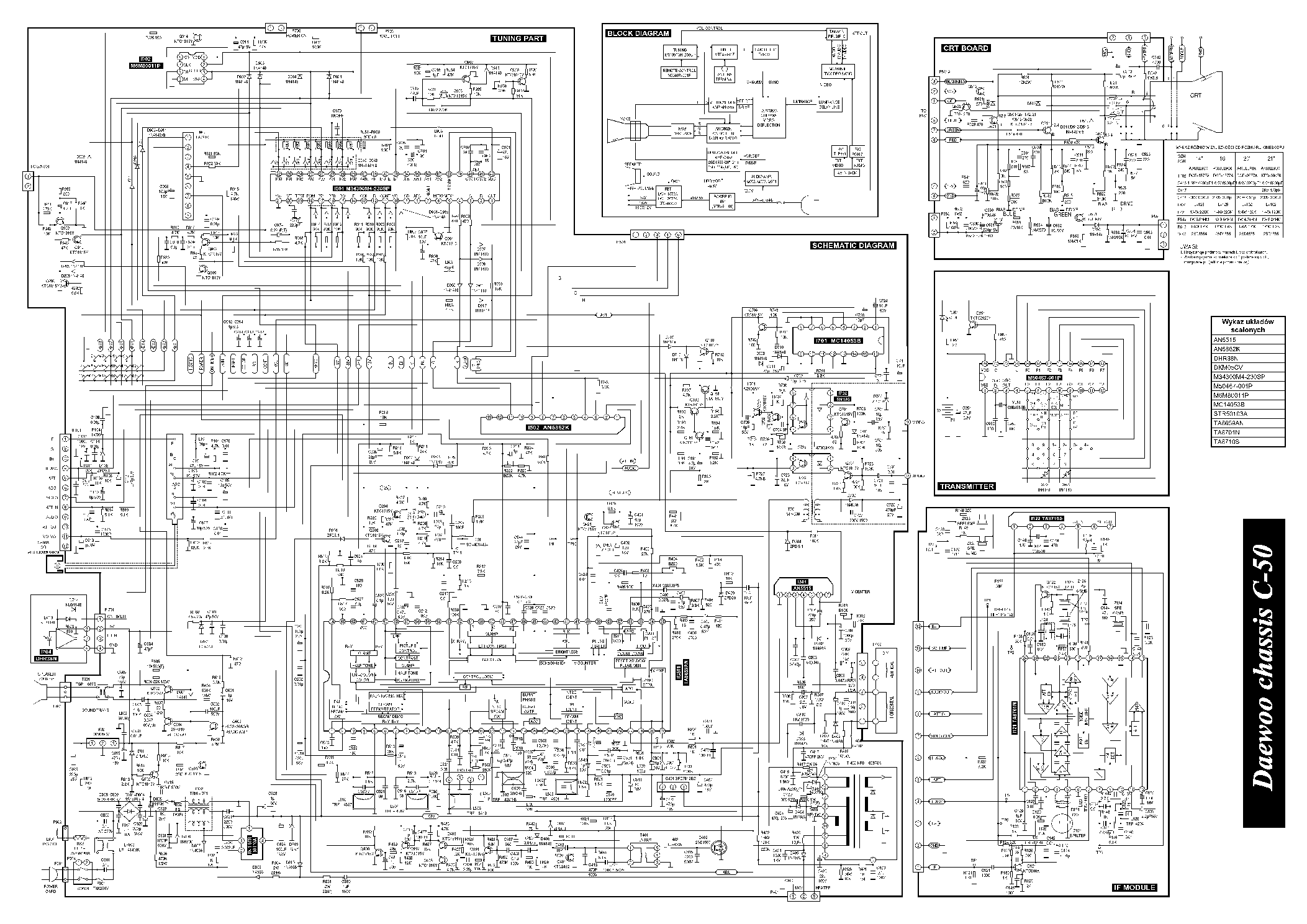 DAEWOO CHASSIS C50 DMQ-2058 SCH Service Manual download