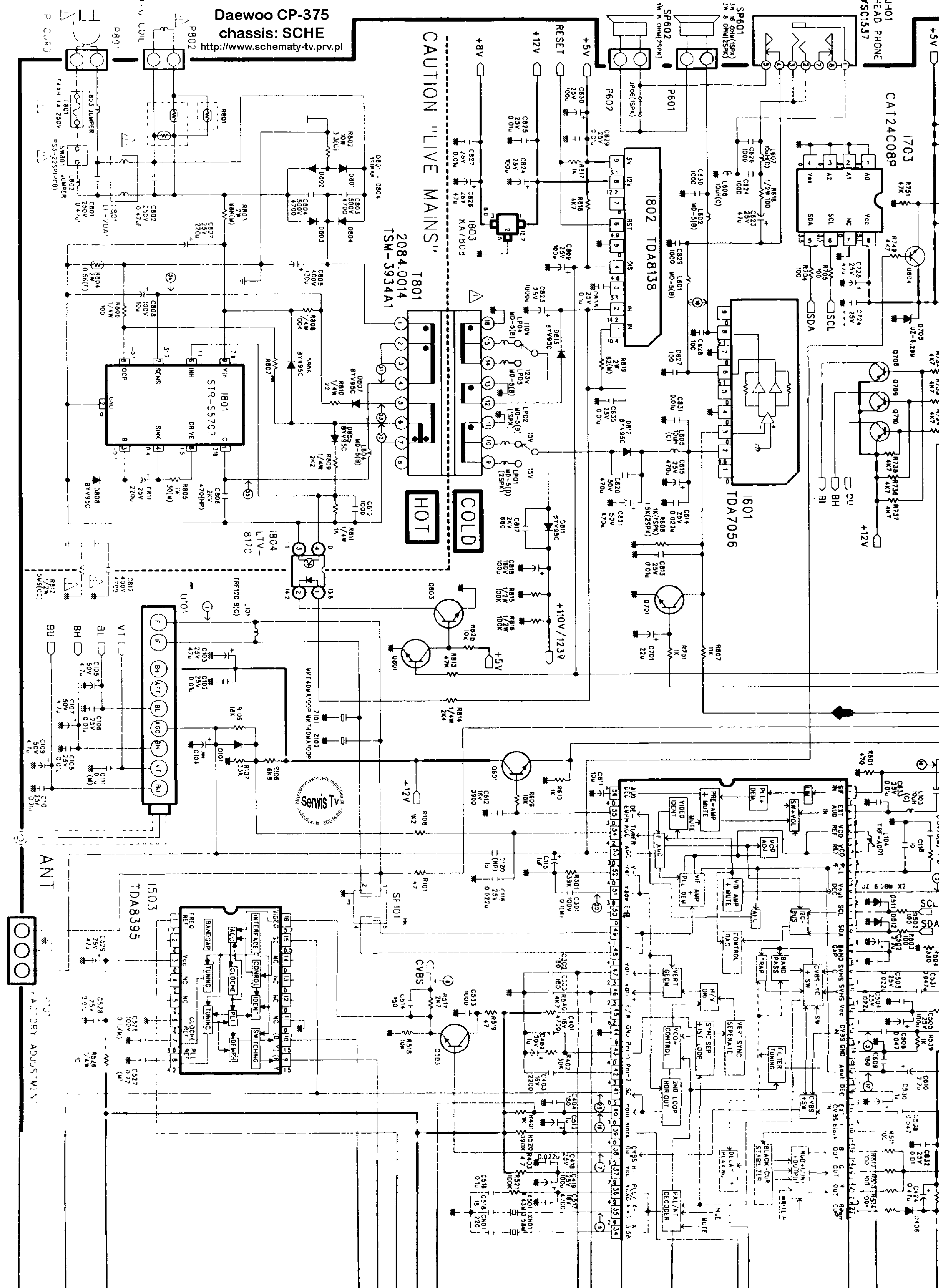 DAEWOO CHASSIS CP-375 Service Manual download, schematics