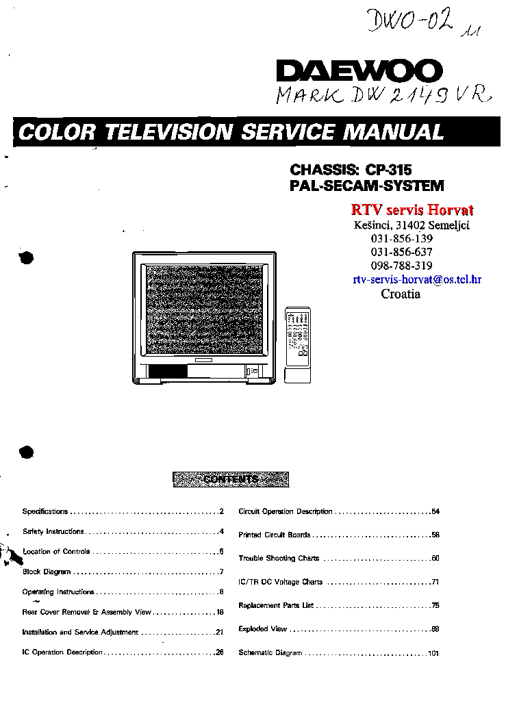 DAEWOO CP-315 CHASSIS DTD2159 SM Service Manual download, schematics, eeprom, repair info for