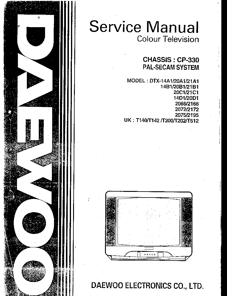 DAEWOO CP330 CHASSIS DTX14A1 TV SM Service Manual download