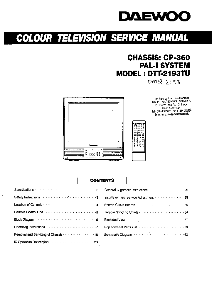 DAEWOO DTQ-20D5FS CHASSIS CN-220B Service Manual download, schematics, eeprom, repair info for