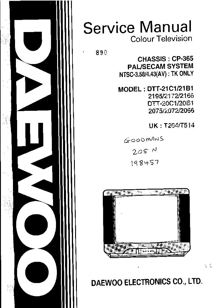 DAEWOO CP365 SM 4579665733 Service Manual download