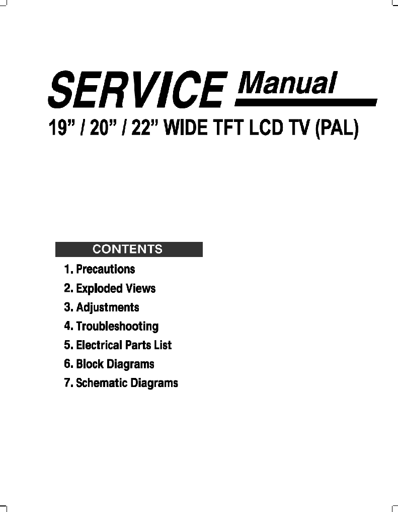 DMTECH LCD-TV WQ20XT 19,20,22 INCH D30-D70 Service Manual