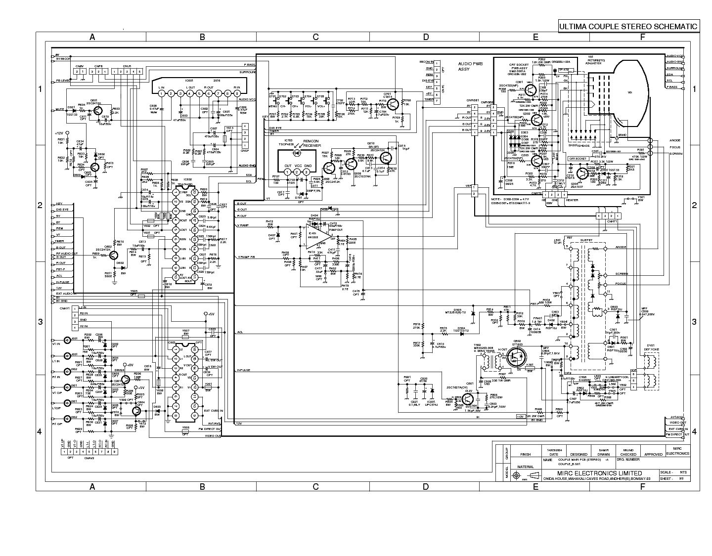 MIRC CHASSIS COUPLE-A COUPLE-B1 CRT TV Service Manual