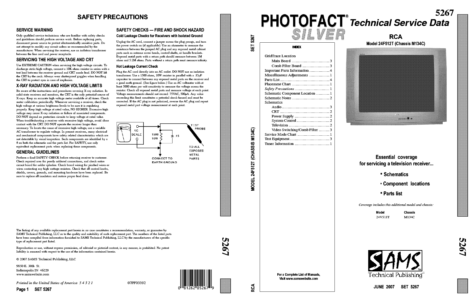 Photofact Silver Rca 24f512t Chassis M134c Service Manual Download Schematics Eeprom Repair