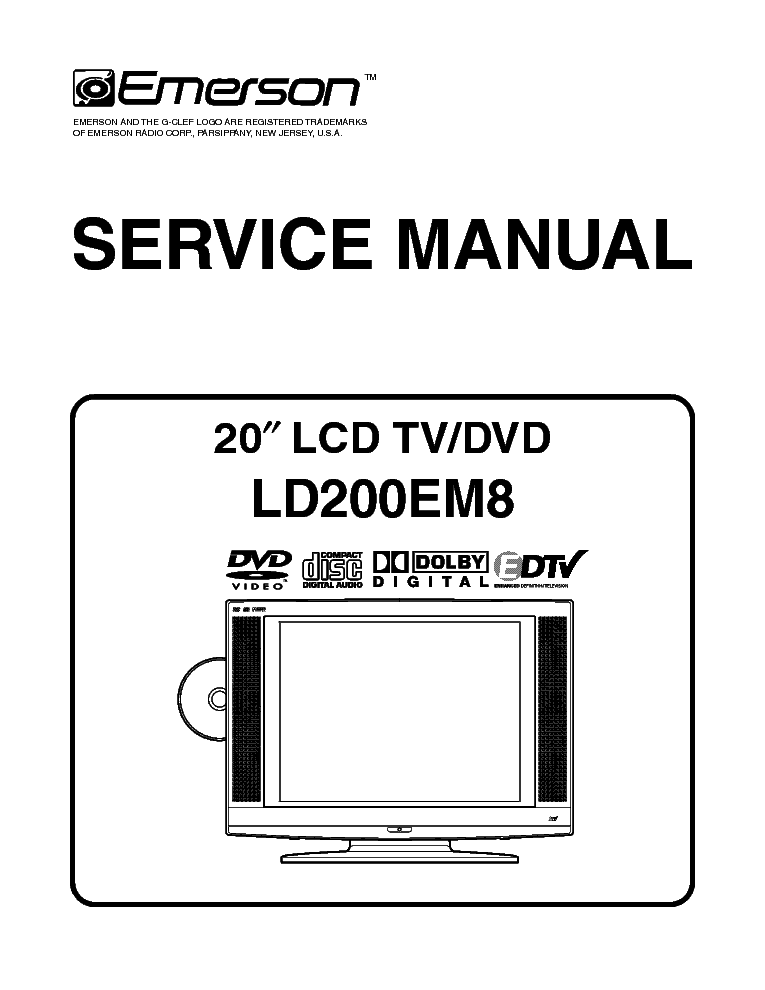 EMERSON LD200EM8 A7441UH LCD TV Service Manual download