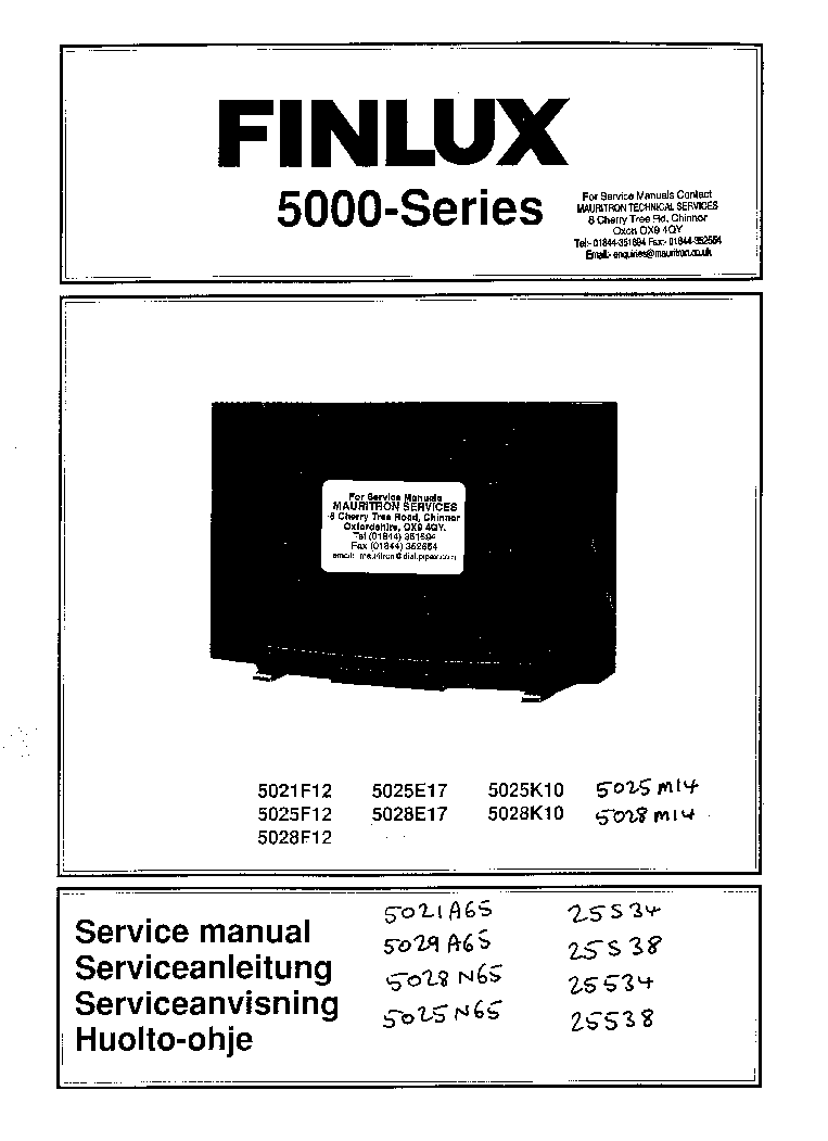 FINLUX 5000 SERIES TV 25534 Service Manual download
