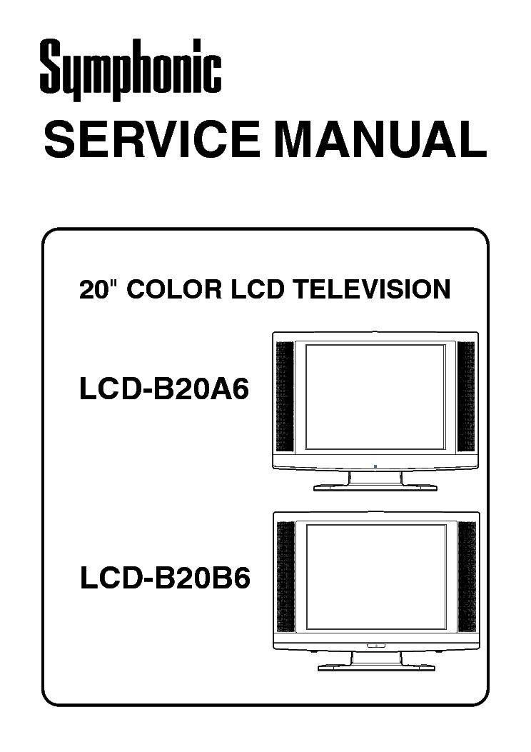 FUNAI SYMPHONIC LCD-B20A6,LCD-B20B6 Service Manual