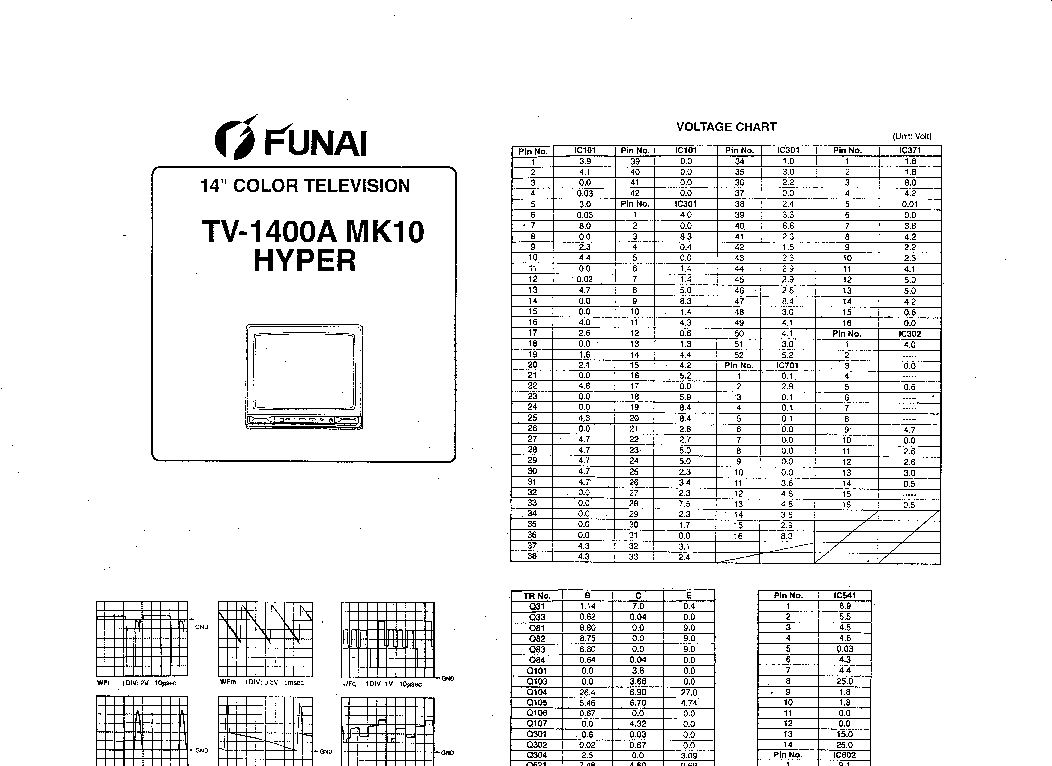 FUNAI TV-1400-MK10 SCH Service Manual download, schematics