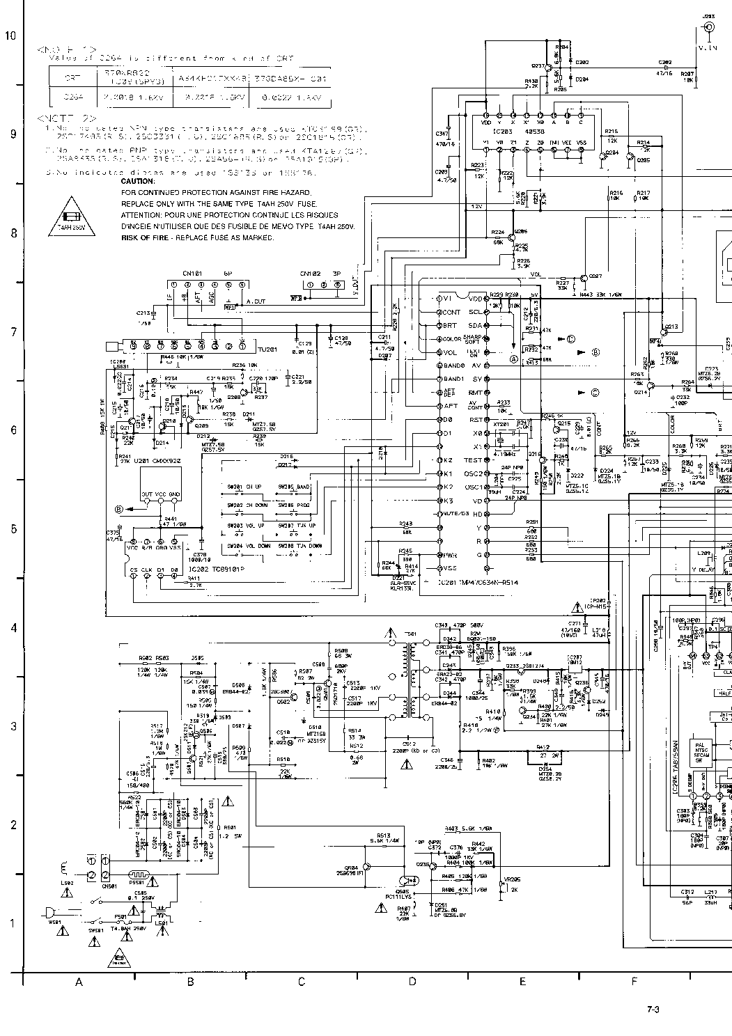 FUNAI TV-1400T MK7 SCH Service Manual download, schematics