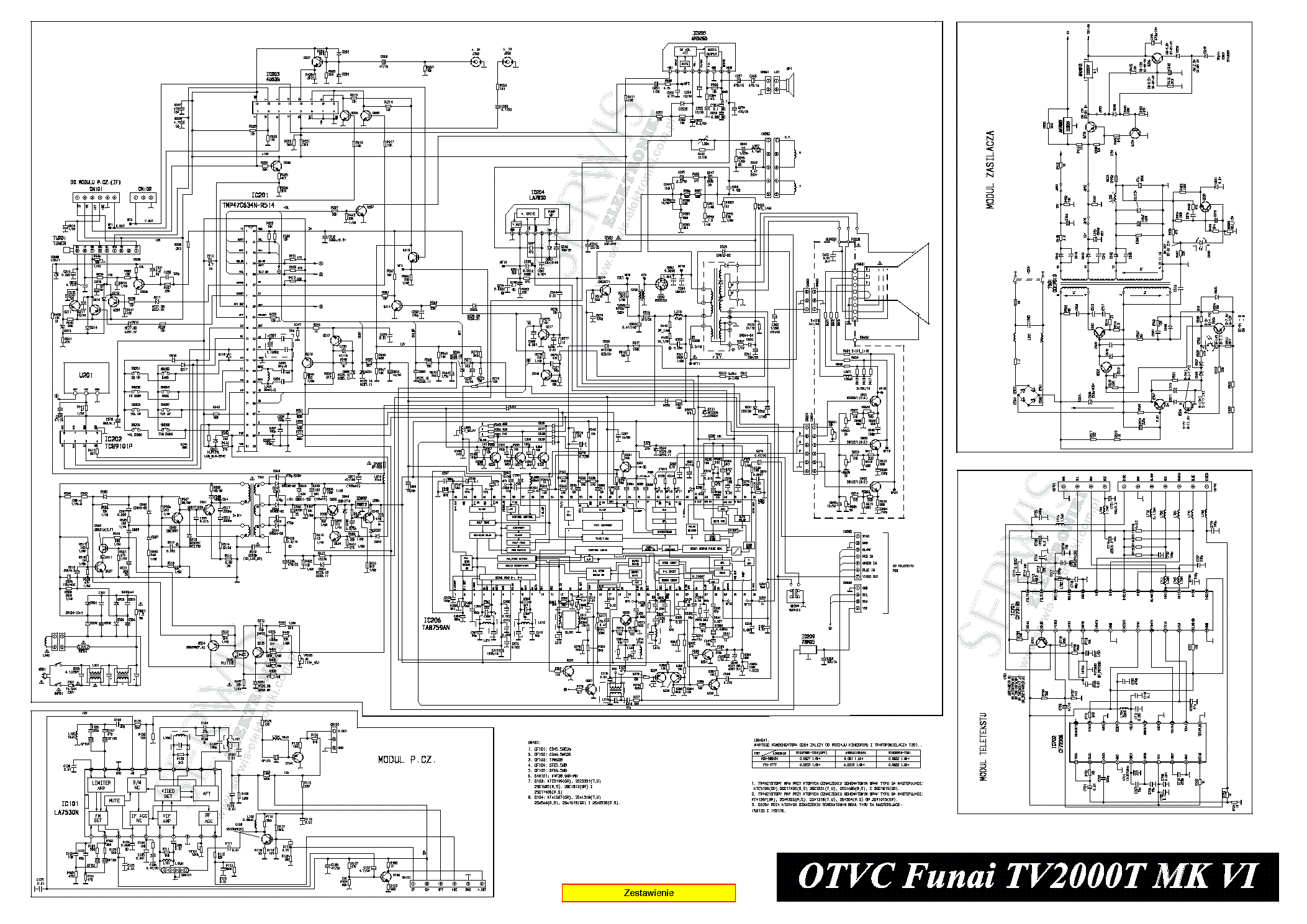 FUNAI TV-2000T MK VI Service Manual download, schematics