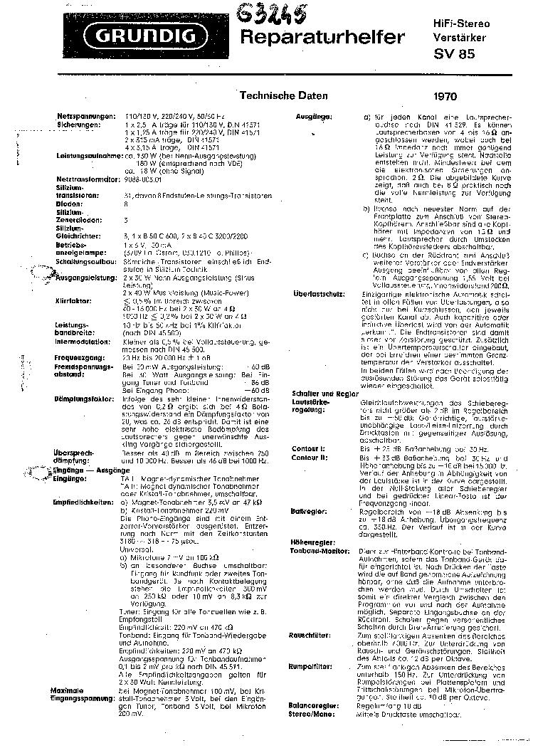 GRUNDIG SV85 Service Manual download, schematics, eeprom