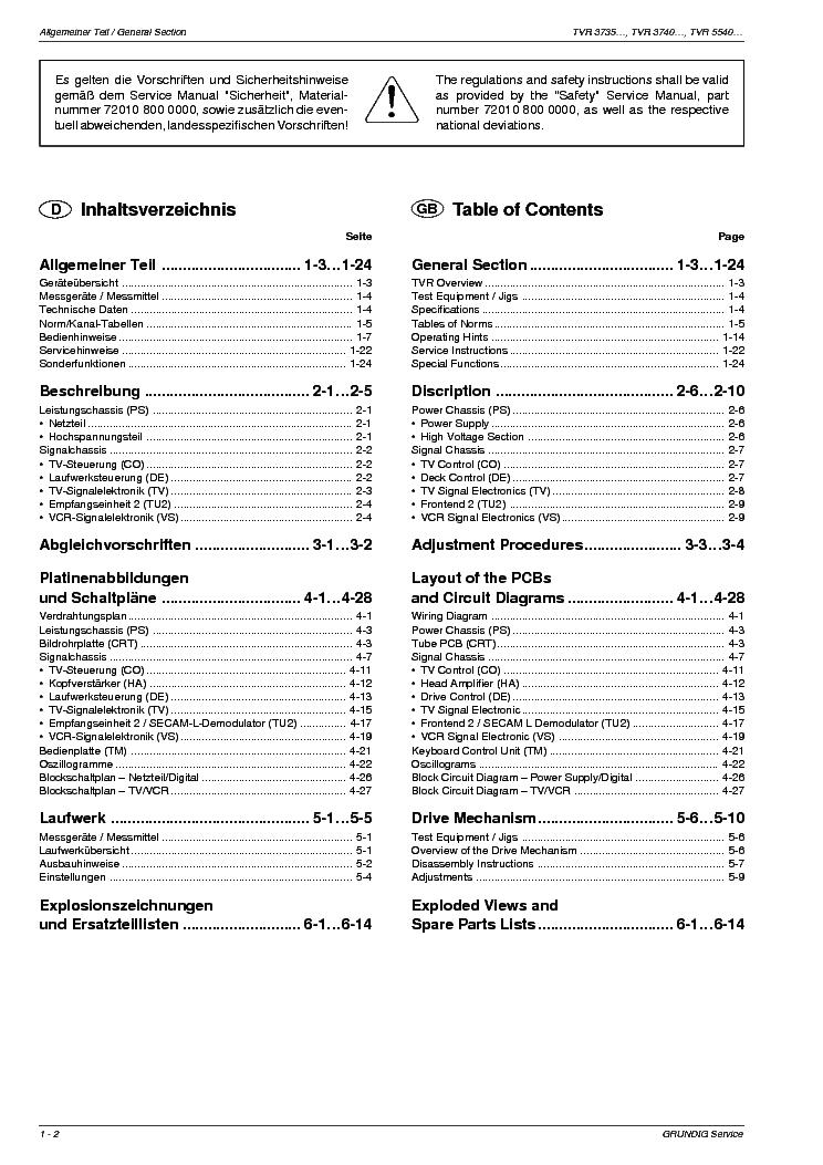 GRUNDIG TVR-3740 Service Manual download, schematics