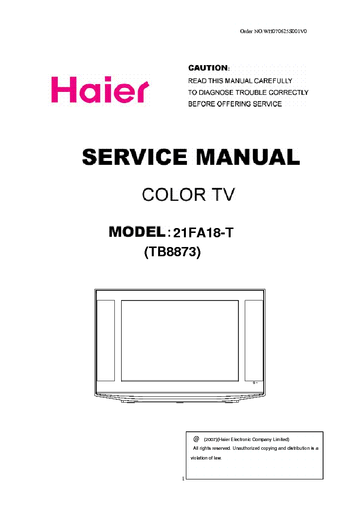 HAIER 21FA18 T TB8873 Service Manual download, schematics