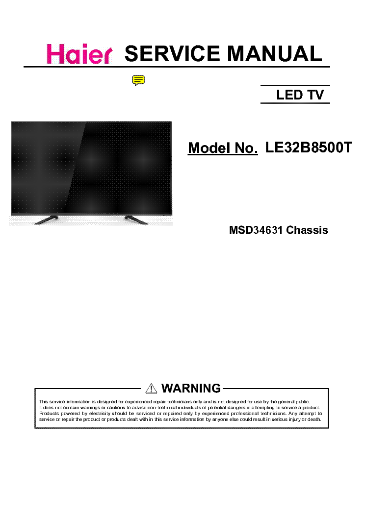 HAIER LE32B8500T CHASSIS MSD34631 Service Manual download
