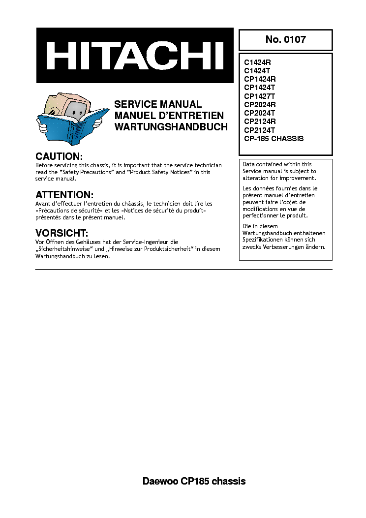 HITACHI C1424 DAEWOO CH CP185 Service Manual download, schematics, eeprom, repair info for