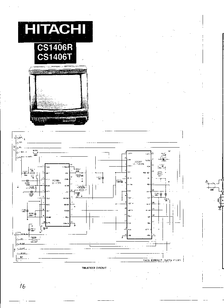 HITACHI CS-1406 SCH Service Manual download, schematics
