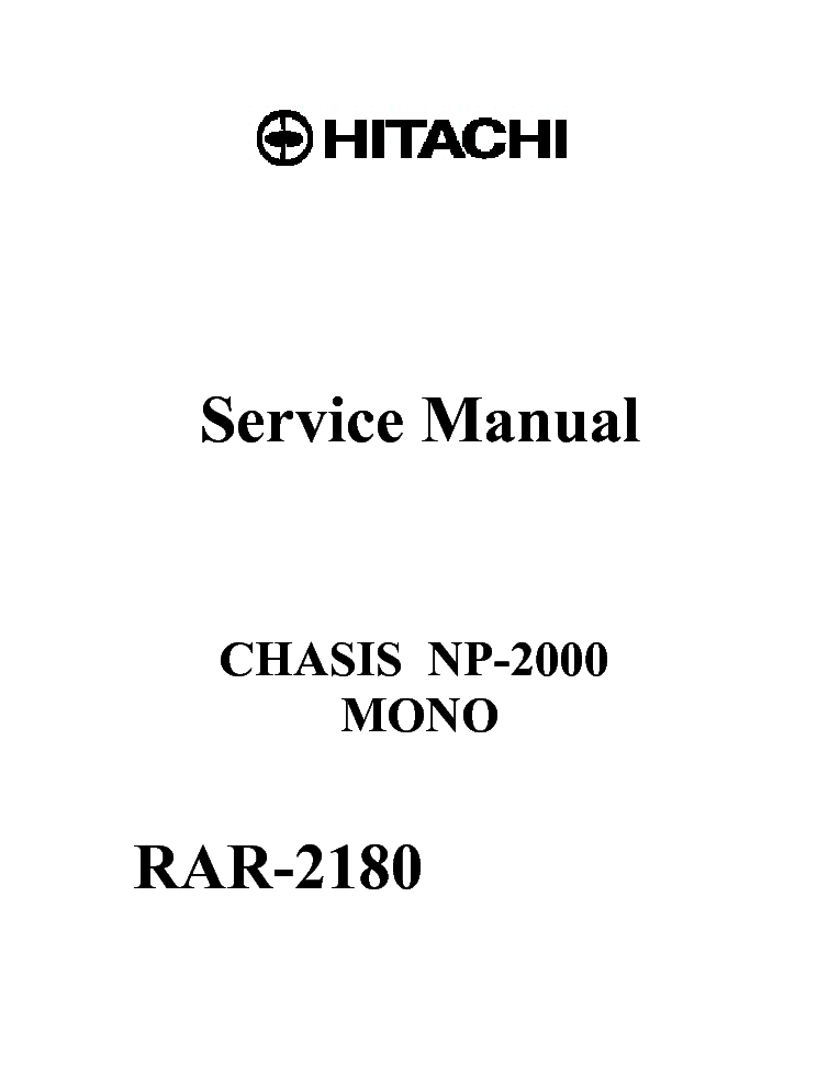 HITACHI RAR-2180 CHASIS NP-2000 Service Manual download