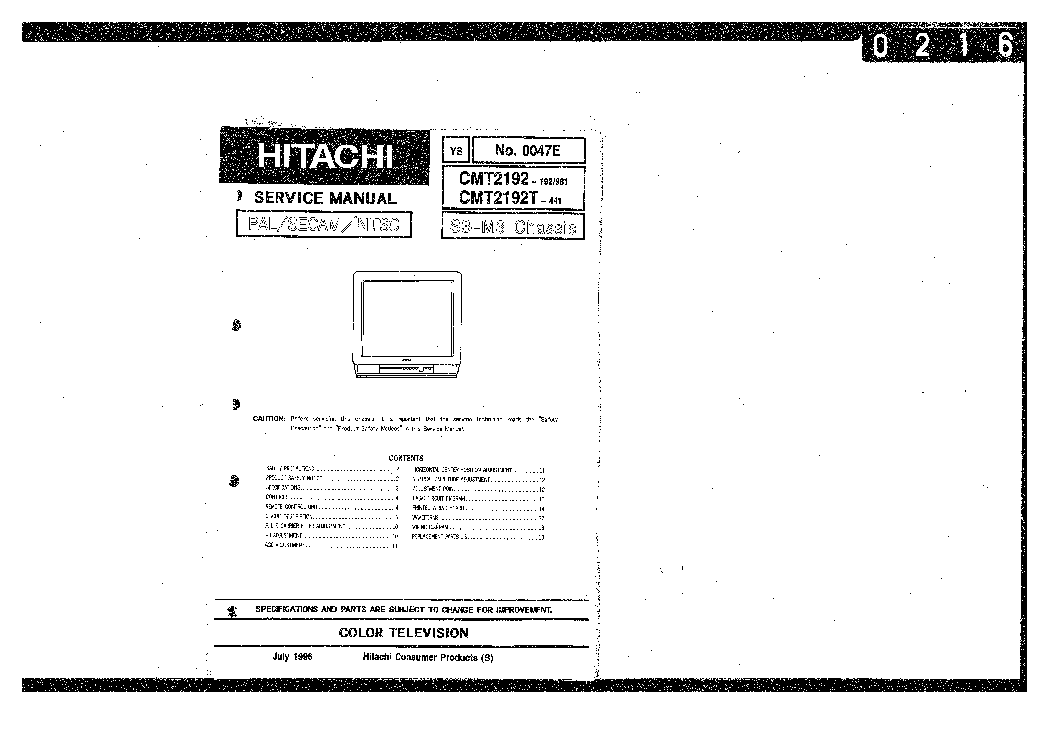 HITACHI S3-M3 CHASSIS CMT2192 TV SM Service Manual