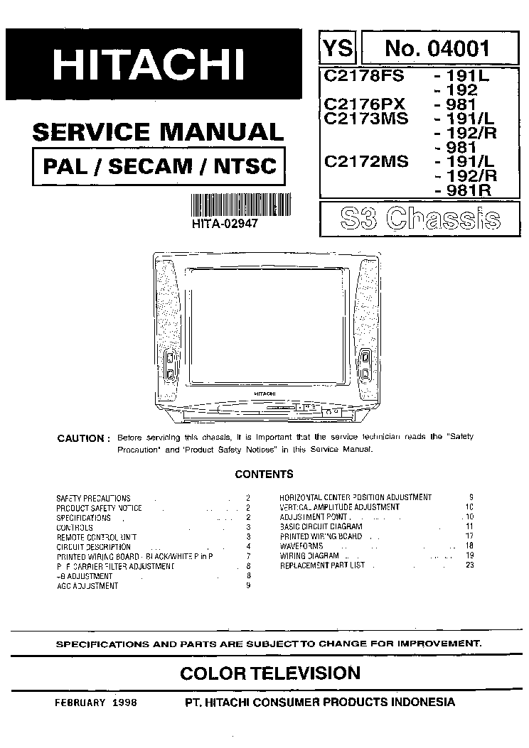 HITACHI S3 CHASSIS C2178,2176,2172,2173 TV SM Service