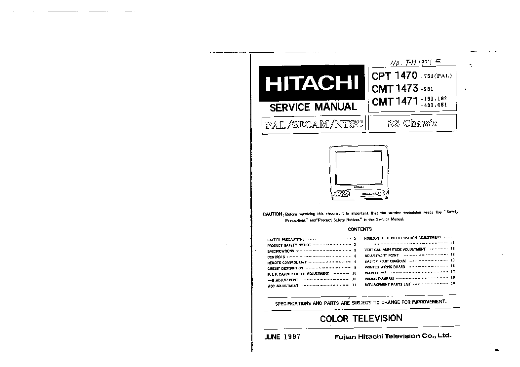 HITACHI S3 CHASSIS CPT1470 TV SM Service Manual download