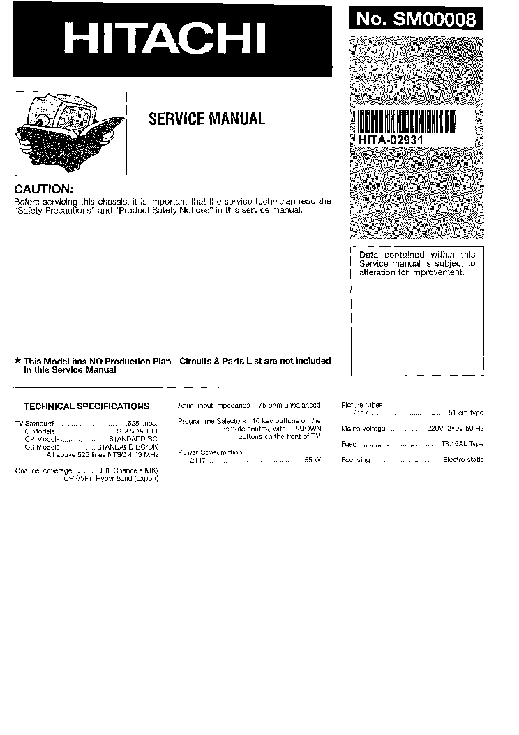 HITACHI TV C2117T,P2117,S2117 SCHEMATIC Service Manual