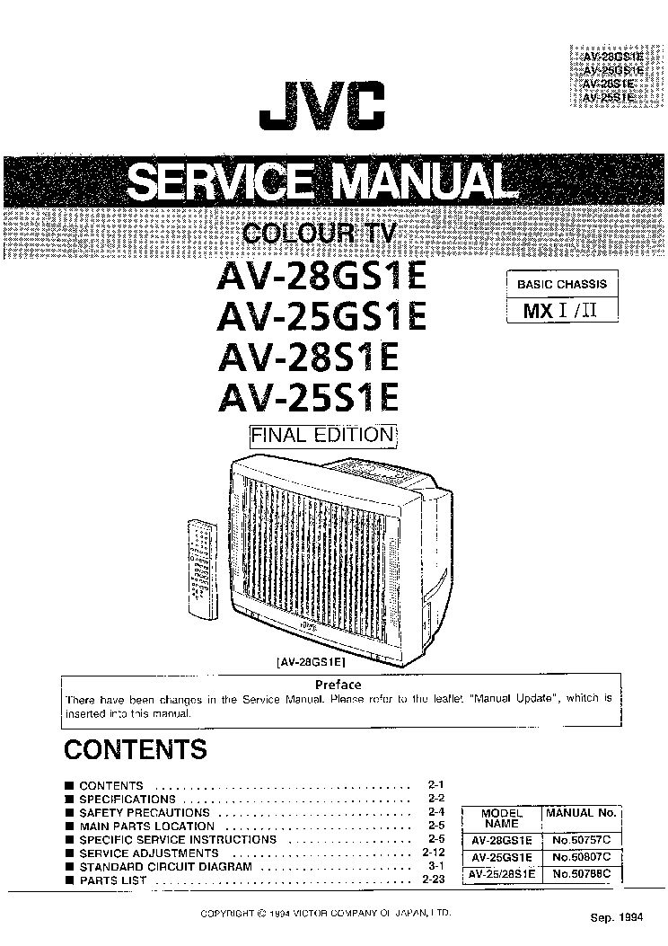 JVC AV-25,28GS1E AV-25,28S1E CH MX Service Manual download