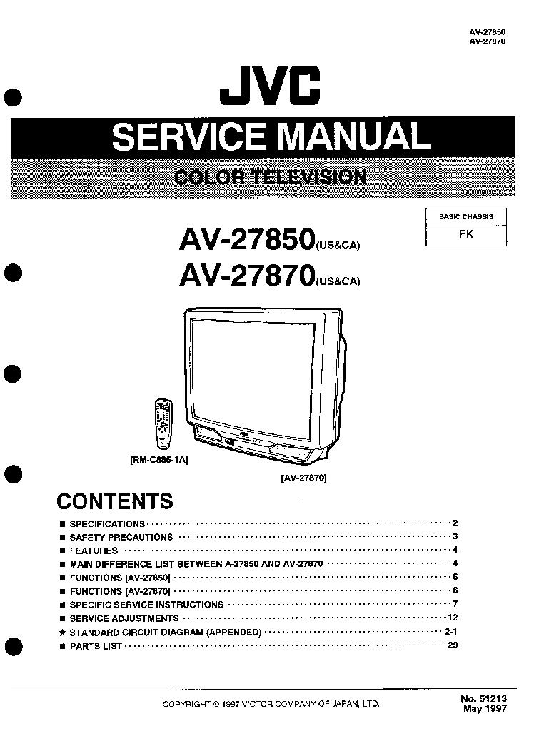 JVC AV-27850 AV-27870 CHASSIS FK SM Service Manual