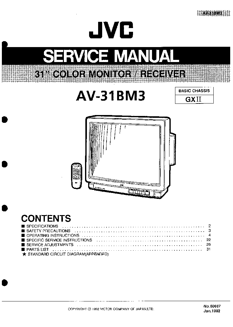JVC AV-31BM3 CHASSIS GX2 SM Service Manual download