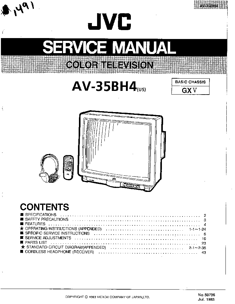 JVC AV-35BH4 CH GXV SM Service Manual download, schematics