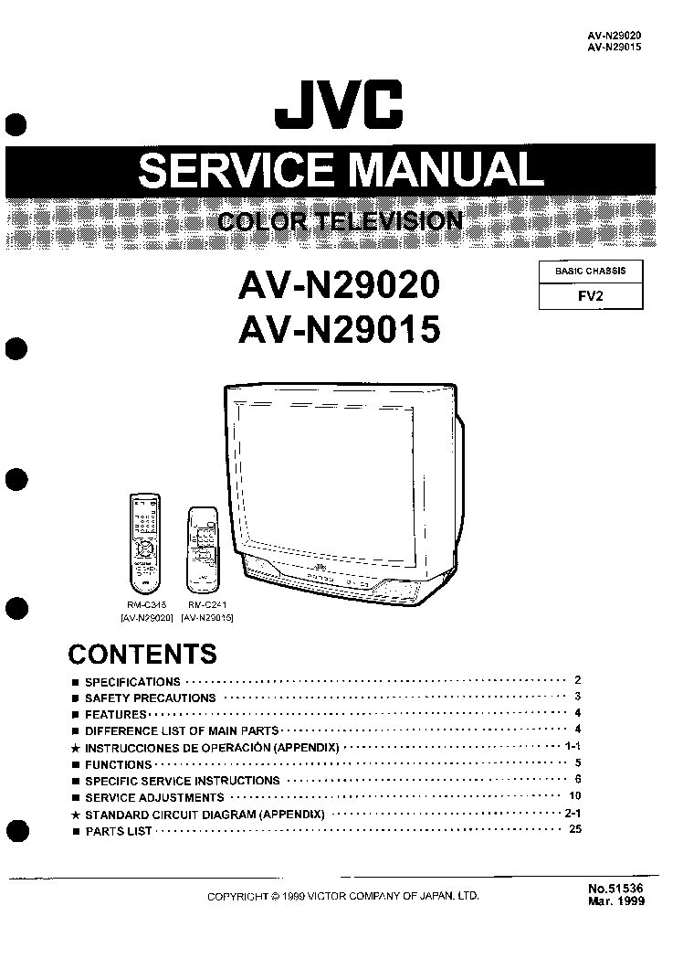 JVC AV-25MEX Service Manual download, schematics, eeprom