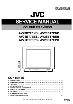 JVC TV AV28BT7E Service Manual download, schematics