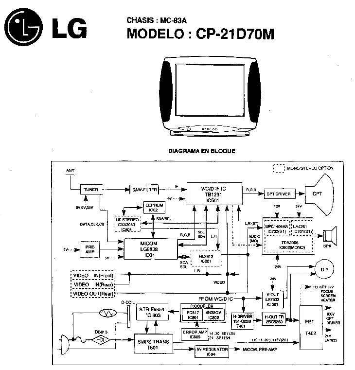 LG MC83A Service Manual download, schematics, eeprom