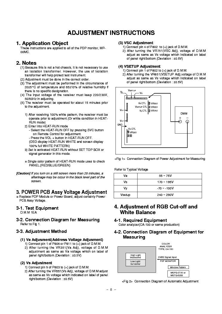 LG MZ40PZ10 PLASMA Service Manual download, schematics