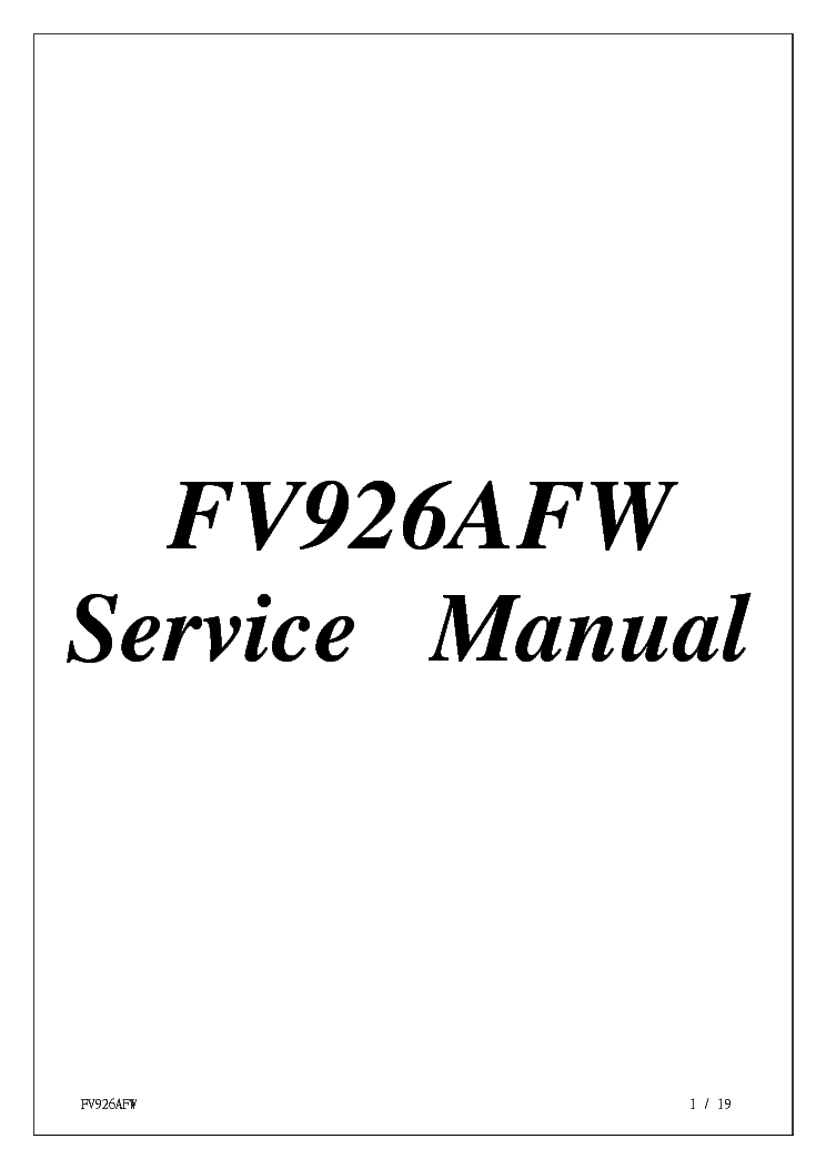LG PROVIEW FV926AFW 196 SM Service Manual download